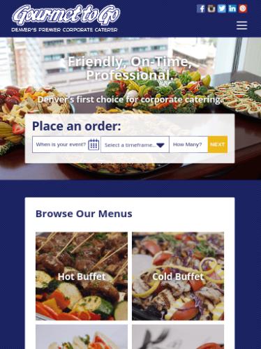 Gourmet To Go Website Tablet Portrait