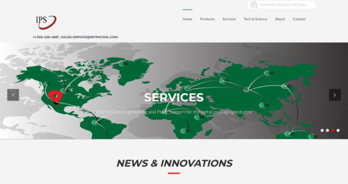 Integrated Packaging Services Website Desktop
