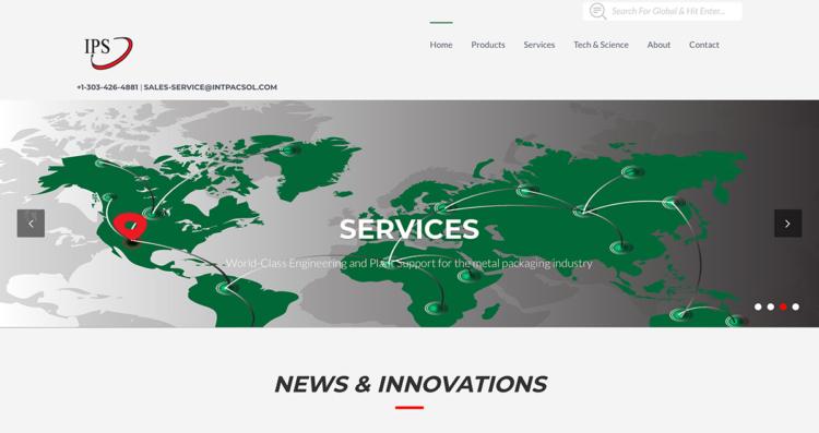 Integrated Packaging Services Website Desktop