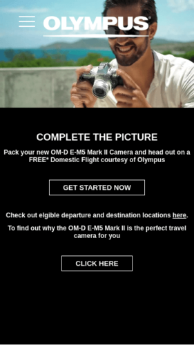Olympus EM5 Promotion Website Mobile