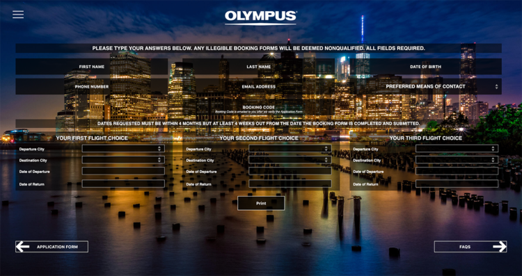 Gravity Forms Custom Plugin developed for Olympus EM5 Promotion
