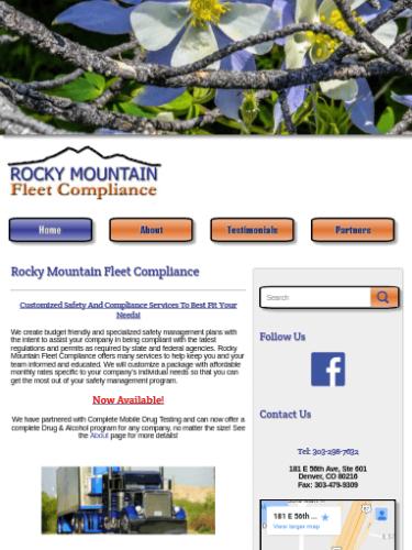 Rocky Mountain Fleet Compliance Website Tablet Portrait