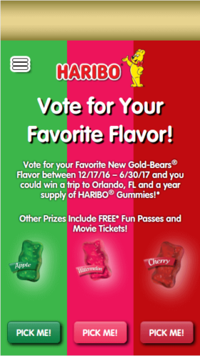 Vote Haribo Promotional Website Mobile