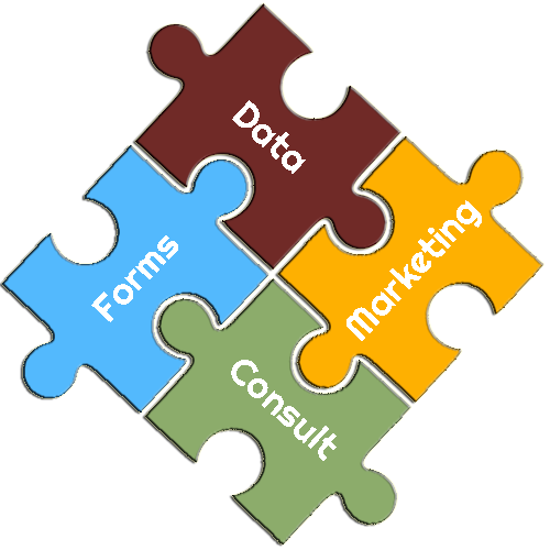 Forms, Data, Marketing Consulting Puzzle Pieces