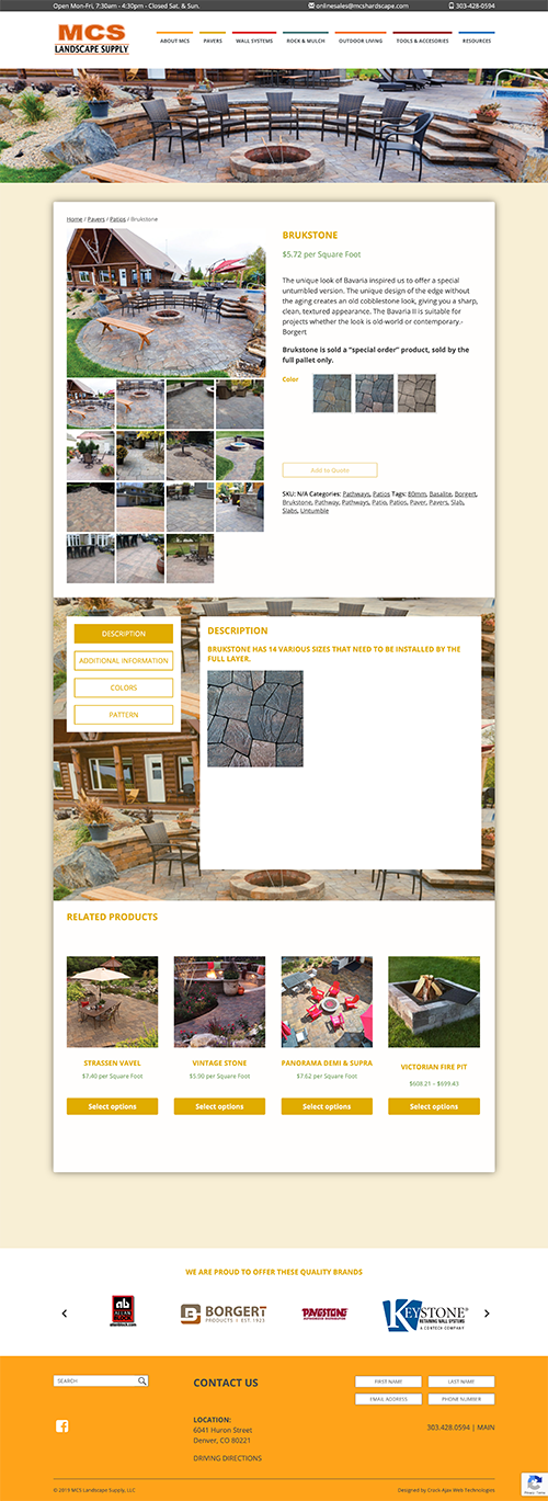 MCS Landscape Supply Product Page Screenshot