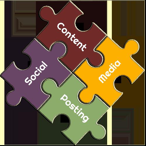 Social Media Content Posting Puzzle Pieces