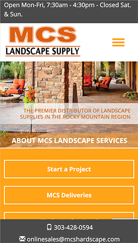 MCS Landscape Supply Website Mobile
