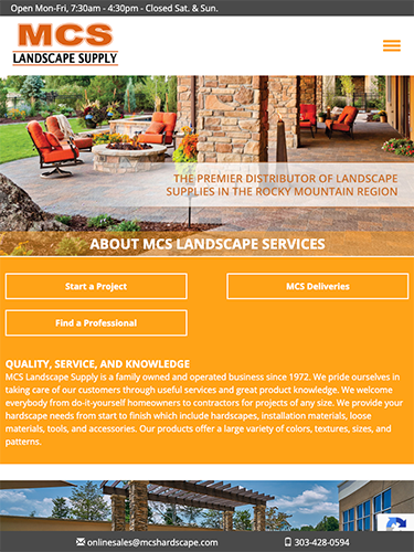 MCS Landscape Supply Website Tablet Portrait