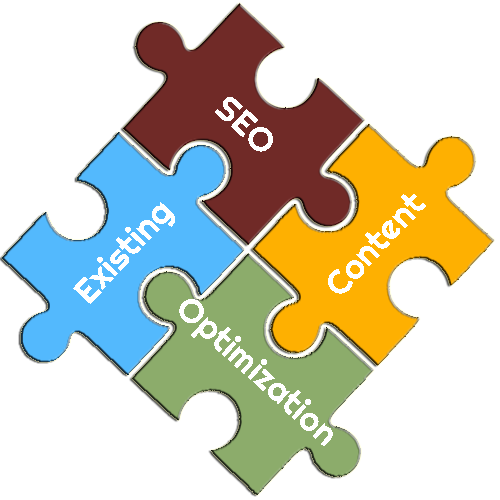 SEO Optimization on Existing Content Puzzle Pieces