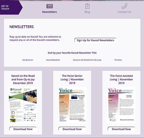 Kavod Senior Life Newsletter Custom Content Type