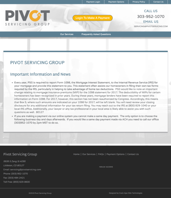 Pivot Servicing Group Homepage Screenshot