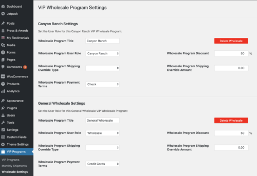 VIP Wholesale Program Settings Screen