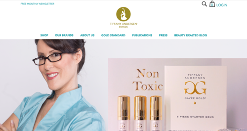 Tiffany Andersen Brands Website Desktop